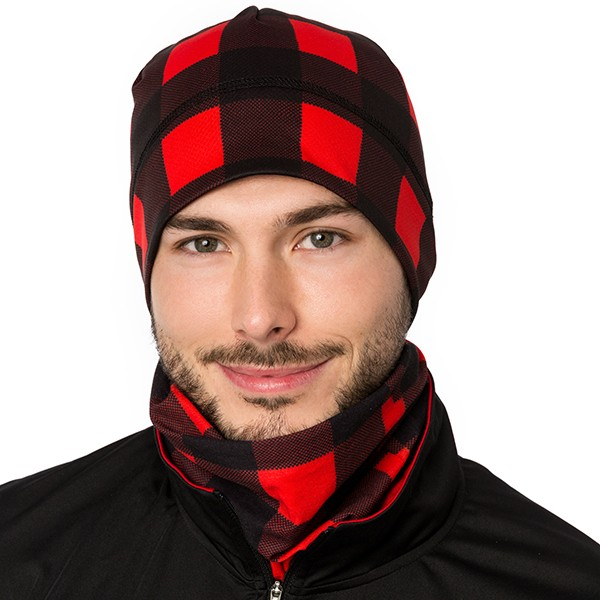 Beanie - Plaid - Red/Black