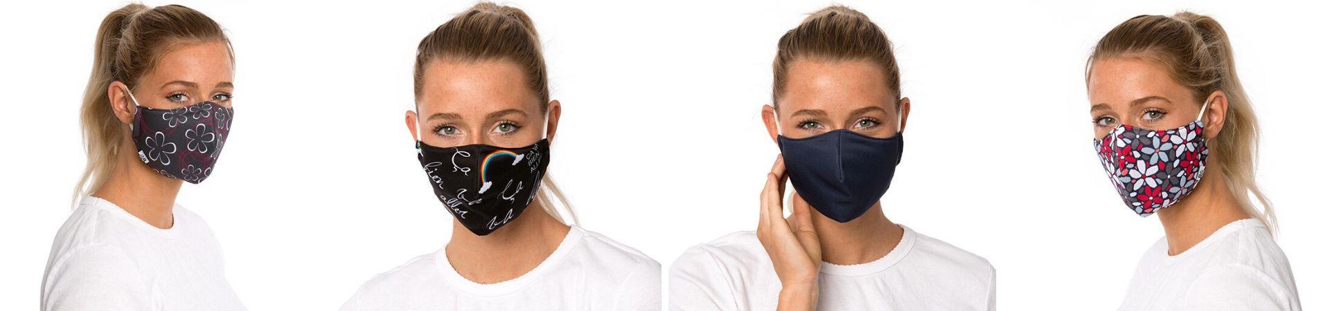 Masques de protection lavables et antibactériens pour le visage.