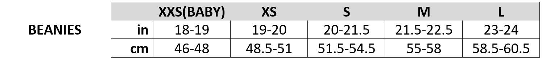 beanies size chart